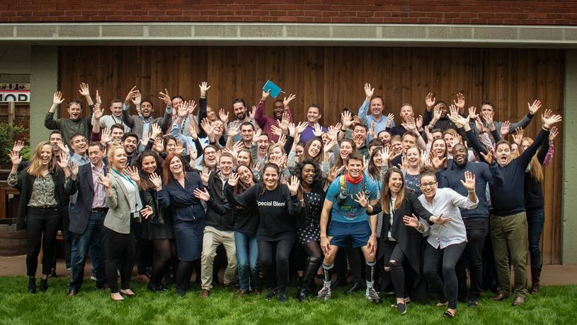 Clarion's James King is cheered off by colleagues ahead of his ultramarathon in the Sahara