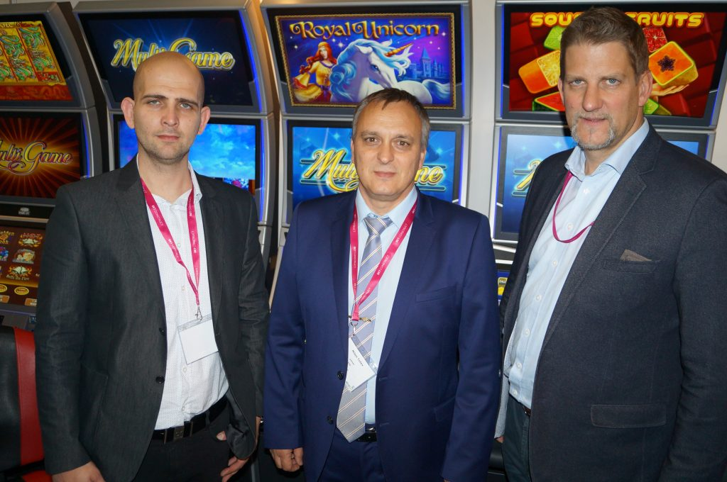 Georgi Nikolov and Milen Totev of CGI together with Thomas Engstberger of AMATIC Industries at the BEGE