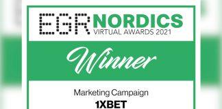 1xBet Nordics virtual awards winner