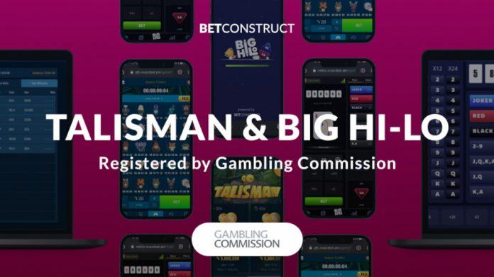 BetConstruct green light Provide Talisman & Big Hi-Lo under its UKGC Licence